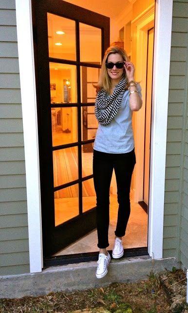 Fall, black skinny jeans, grey t shirt, bright scarf, converse