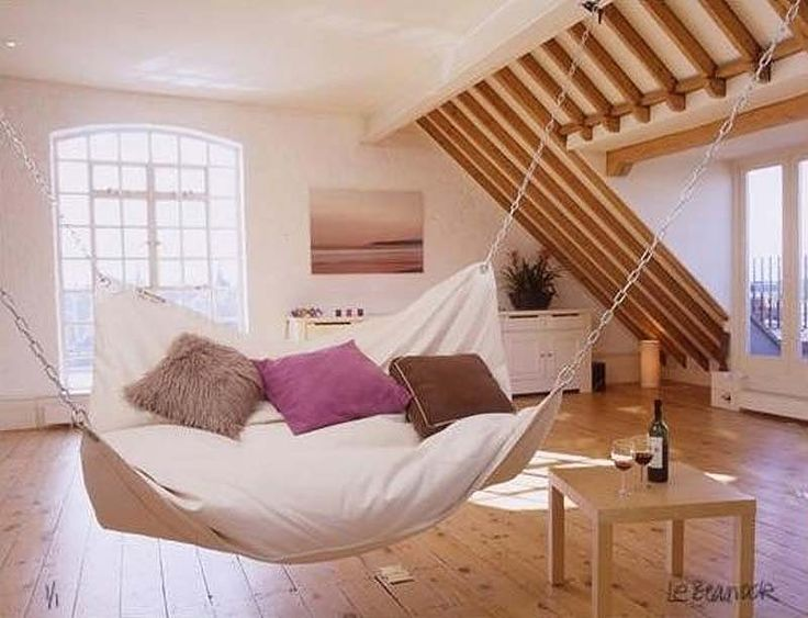27 Cool Ideas For Your Bedroom, Bed-hammock - hammock might be fun in a den or game room