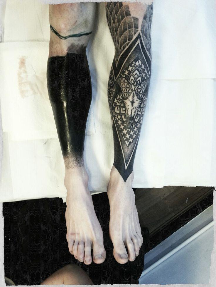 Blackwork tattoo leg images galleries for Blackout tattoo back