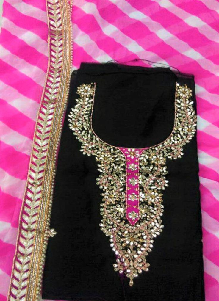 Pink And Black Chiffon And Crepe Cotton Gotta Patti Punjabi Suit