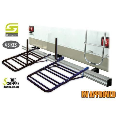 Swagman's RV Approved Bumper Mount 4 Bike rack safely transports 4 bicycles weighing up to 30 lbs each. This classic design is compatible with most styles of bicycles and super easy to use. Fit 4 to 4