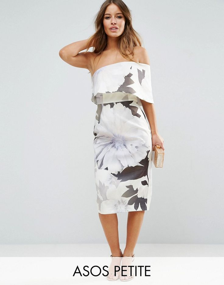 ASOS PETITE One Shoulder Floral Midi Dress - Multi