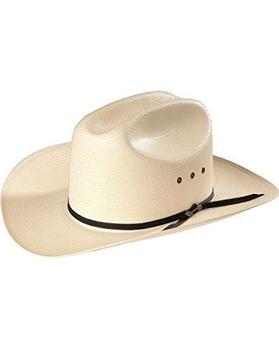 "Top off your western look with a smart, good-looking straw cowboy hat from the legendary, Stetson hats. The Rancher Stetson straw hat features a 4 3/4"" cattleman crease crown and 3 1/2"" brim. Cowboy hat crown height and brim width may vary slightly.   	 		 			 				 					Famous..."