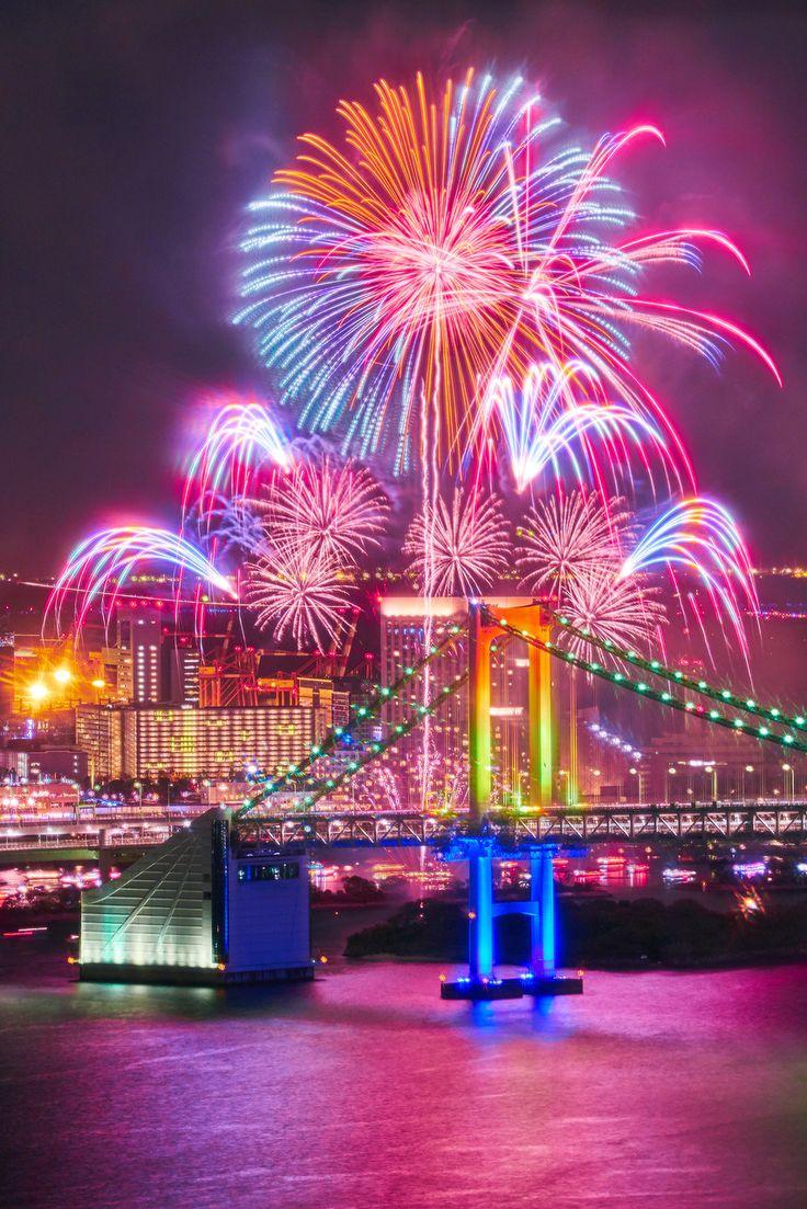 Fireworks at the Rainbow Bridge, Tokyo, Japan