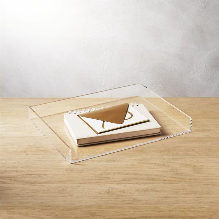 Shop format memo tray.  Or anywhere you have stuff. Crystal clean acrylic desk accessory organizes in not-so-plain sight.