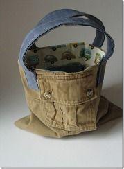 Tutorial: Cargo pants tote bag · Sewing | CraftGossip.com   cute idea!
