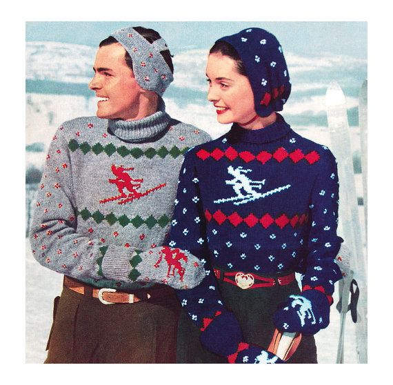 Knitting Patterns For Novelty Christmas Jumpers : Vintage Knitting Pattern 1950s Ski Sweater Skier Nordic Novelty Headband Hat ...