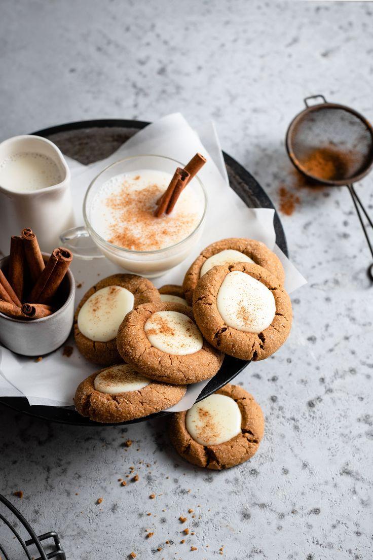 Eggnog Gingerbread Thumbprint Cookies Two Cups Flour Recipe Eggnog Dessert Cookie Recipes Thumbprint Cookies