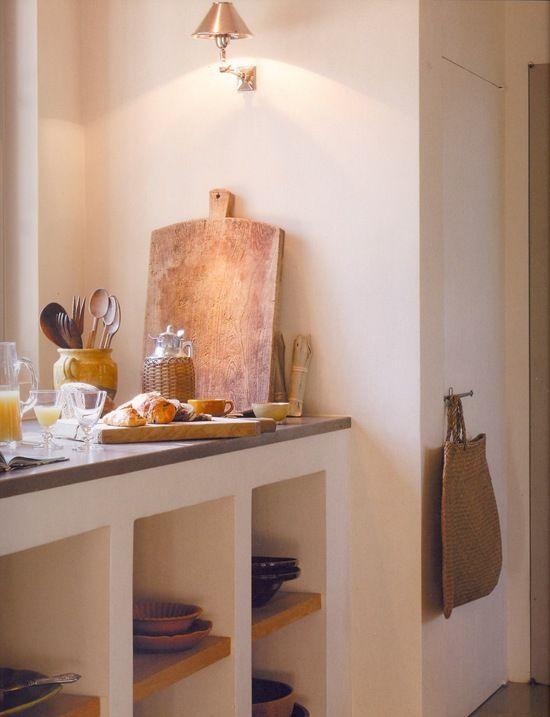 Open bespoke kitchen units.