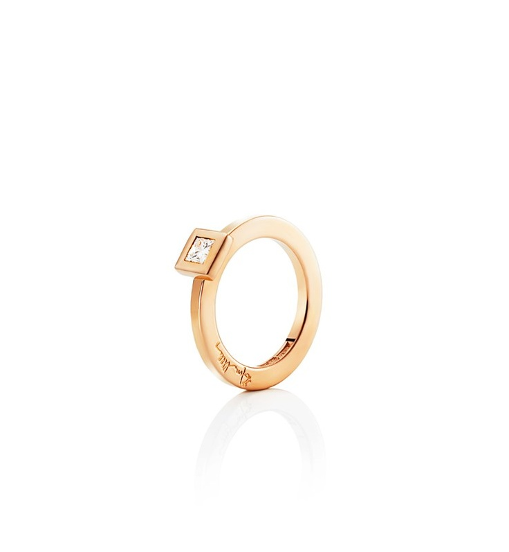 Efva Attling - Princess Wedding - $4,605. Gold or white gold solitaire with princess cut diamond.