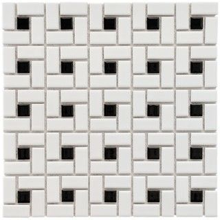 @Overstock - Update your decor with these glazed porcelain tiles for your kitchen, bath, fireplace, pool, foyer or backsplash. These floor and wall tiles come in tones of white, black and blue.http://www.overstock.com/Home-Garden/SomerTile-12.5x12.5-in-Spiral-1x2-in-White-Black-Porcelain-Mosaic-Tile-Pack-of-10/4509756/product.html?CID=214117 $52.99