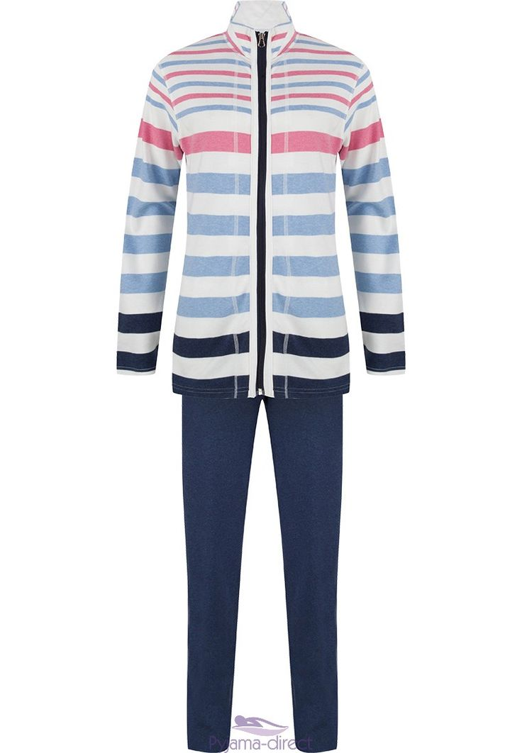 "Relax and feel comfy in this Pastunette blue & pink ""mixed stripes"" lightweight cotton summer homesuit"