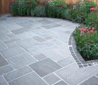 Exclusive to AWBS natural Stone Grey Sandstone paving in random sizes. #GreyPavingSlabs #SandstonePaving