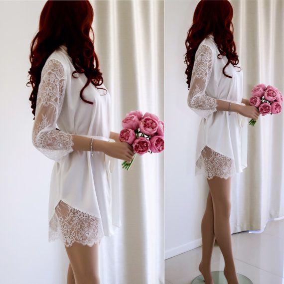 White Bridal Robe/ Silk Bridal Robe/ Lace Sleeve by SilkBrides