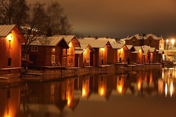 Boat houses, Porvoo river, Southern Finland.