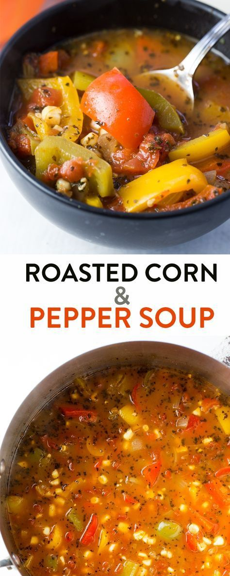 This roasted corn and pepper soup recipe is a healthy and nutritious dinner or lunch recipe. Make it whole30 and paleo by omitting the corn, but this clean eating soup is great the way it is.  | Posted By: DebbieNet.com