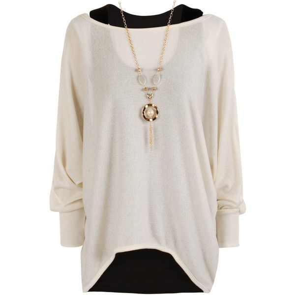 Belinda Knitted Necklace Top ($20) ❤ liked on Polyvore featuring tops, long sleeved, shirts, cream, cream top, extra long sleeve shirts, knit top, long sleeve shirts and long sleeve knit shirt