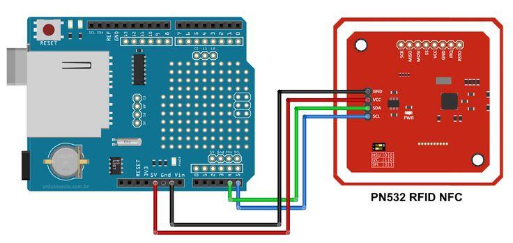 Circuito Data Logger Shield e módulo leitor RFID PN532