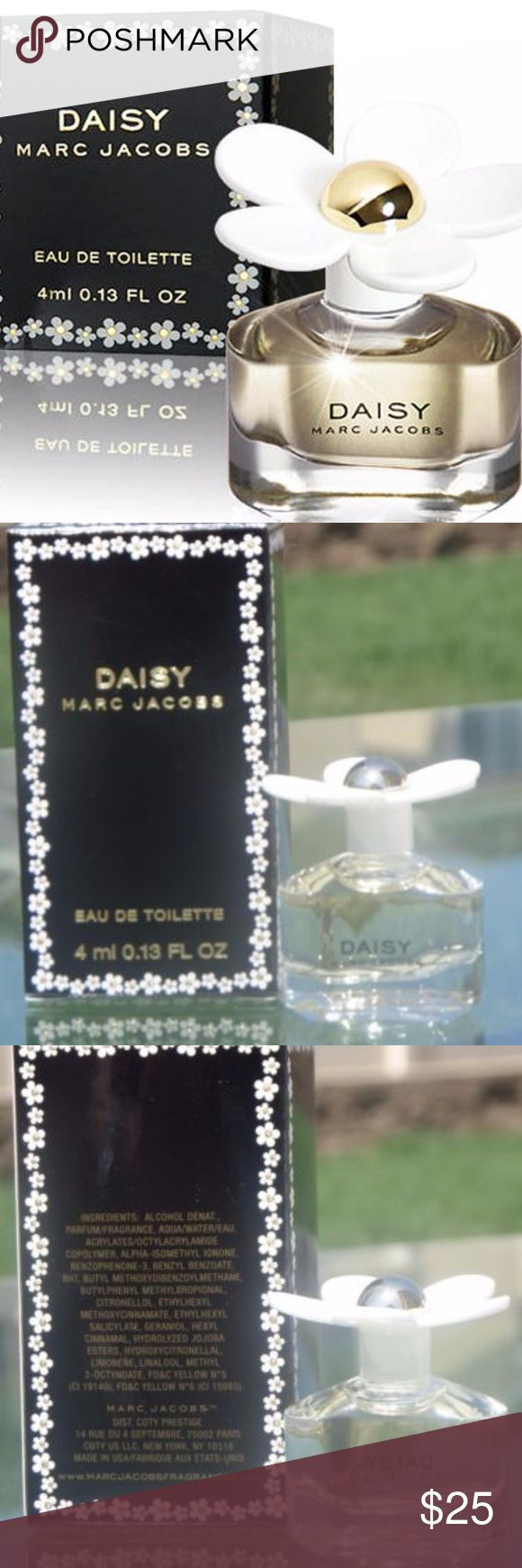 New in Box Marc Jacobs Daisy Mini Perfume From the House of Marc Jacobs New in Box Daisy 4ml/.13oz Eau de Toilette Mini Collectible Parfum  A truly fresh & feminine fragrance with a playful innocence.  Elegant, sophisticated, enchanting but not too serious.  Wraps you in comfort warmth & a sparkling floral bouquet.   Notes of violet leaves, violet petals, jasmine petals, strawberry, ruby red grapefruit. Blended with musk, vanilla & white woods  **Plz Note Price is FIRM unless Bundled** Marc…