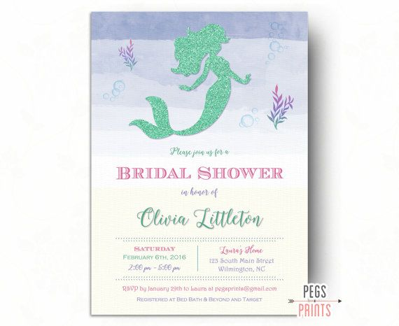 Mint Green Mermaid Bridal Shower Invitation by PegsPrints on Etsy