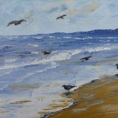 Tableau la plage aux oiseaux peinture l 39 huile au - Tableaux mer et plage ...