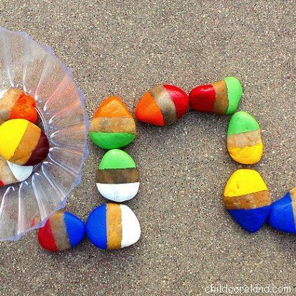 Color matching game gift  rock painting! summer survival kids crafts - A girl and a glue gun