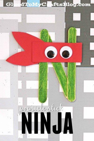 """""""N"""" is for Ninja - Popsicle Stick Kid Craft Idea"""