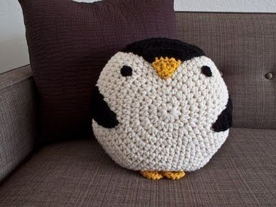 Crochet penguin pillow. So many other animal and bird possibilities!