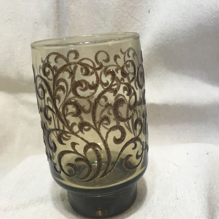 1970's Libby juice glasses. Set of four brown drinking glasses with a raised design. by TheRubyRabbitVintage on Etsy