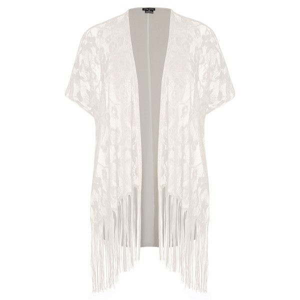 City Chic Lace Fringe Kimono ($55) ❤ liked on Polyvore featuring intimates, robes, kimono, cardigans, jackets, outerwear, lace robe, kimono robe, fringe kimono and lace kimono robe