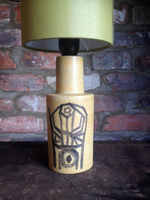 Mid century ceramic table lamp imported from Denmark however unsure of designer although the lamp has been stamped under base. This lamp is in