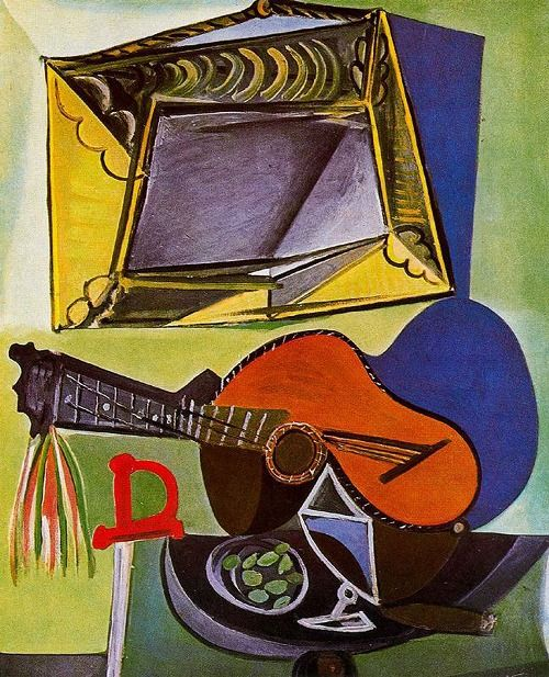 """Still Life with Guitar, 1942 ~ Pablo Picasso - to me this painting looks like """"Still life with video game & guitar"""" Haha"""