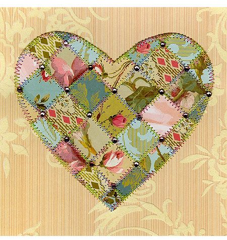 """A quilted paper card, these are fun to make. I did a workshop with Michaela Laurie of """"Paper quilting"""". This is one of her creations."""