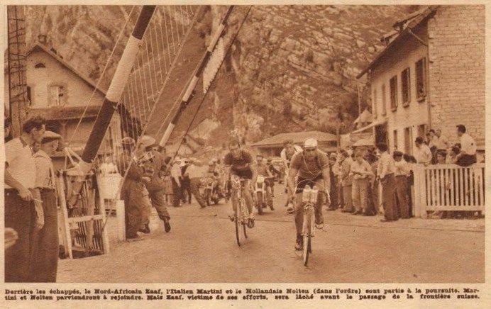 Tour de France 1952. 9^Tappa, 3 luglio. Mulhouse > Losanna. Abdel Kader Zaaf (1917-1986), Alfredo Martini (1921-2015) e Jan Nolten (1930-2014) [Le Miroir des Sports]