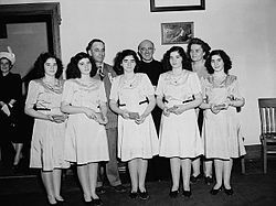 Quintuplets - The Canadian Dionne sisters, seen in this 1947 photograph, were the first quintuplets known to survive infancy.
