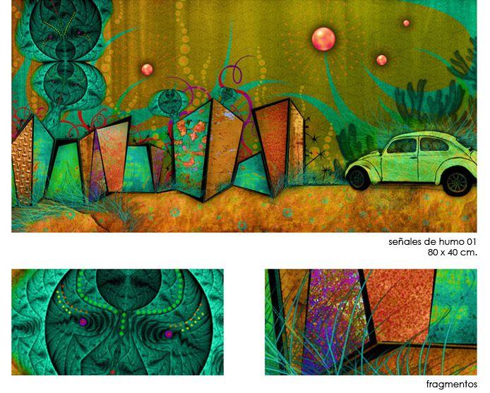 señales de humo / 80 x 40 cm. Distintas versiones de color en la web : http://www.elenaverablog.com/humo.html