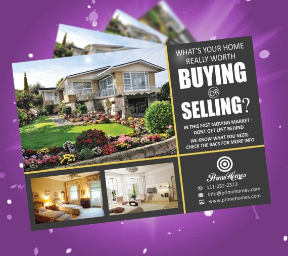 Real estate advertising postcard template  editable in MS