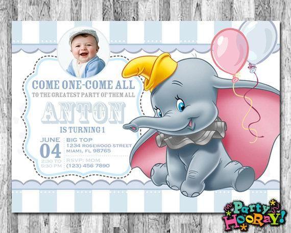Dumbo Invitations For Boys Dumbo Birthday Invitation Dumbo