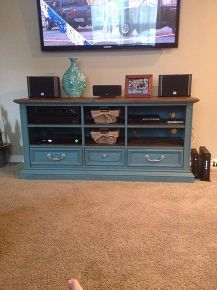 dresser to entertainment center transformation, entertainment rec rooms, painted furniture, repurposing upcycling