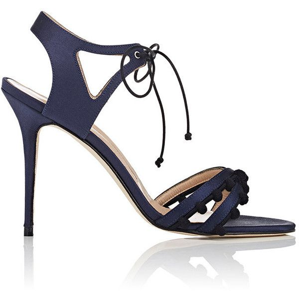 Manolo Blahnik Women's Esparra Satin Ankle-Tie Sandals ($795) ❤ liked on Polyvore featuring shoes, sandals, navy, strappy sandals, pom pom sandals, navy strappy sandals, strap sandals and navy sandals