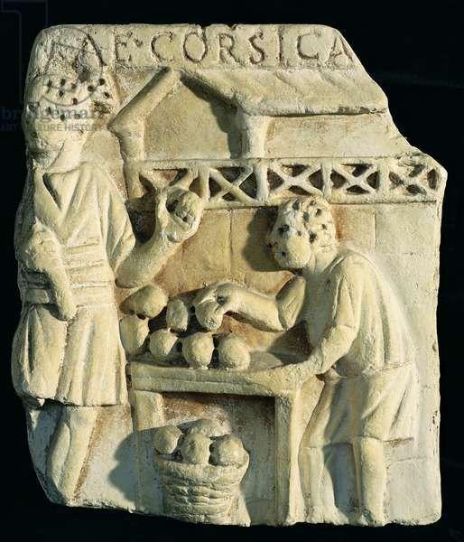 Relief depicting a bread seller (stone), Roman, (2nd century AD) / Museo della Civilta Romana, Rome, Italy / Giraudon / The Bridgeman Art Library