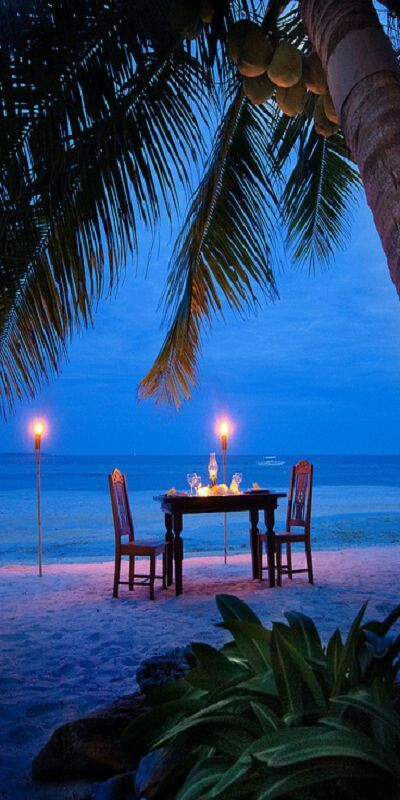 YES YES YES PERFECT. Sunset.. Wine... RomAntic. Fireworks even? Agh  Writing in the sand something sweet