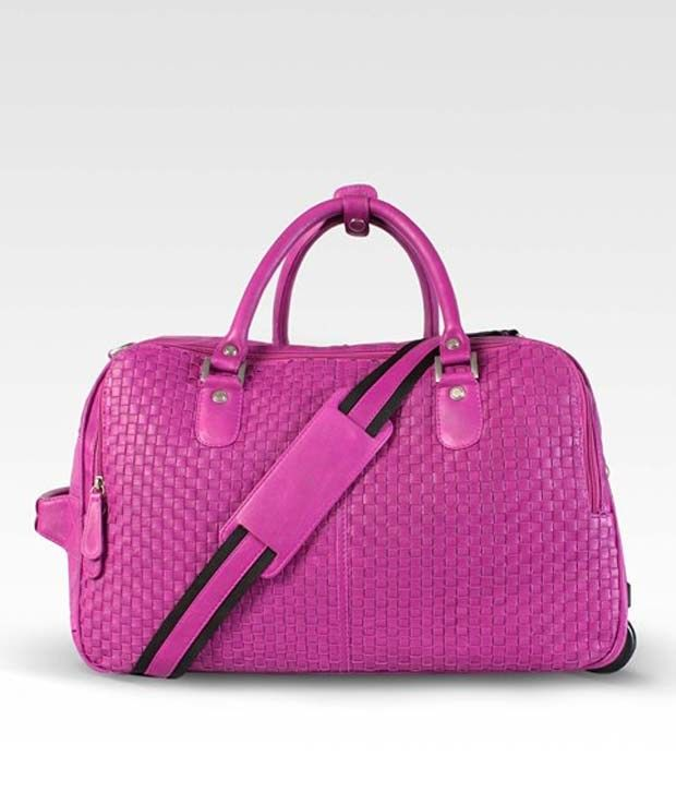 Brune Pink Leather Strolley Duffle Bag, http://www.snapdeal.com/product/brune-pink-leather-strolley-duffle/1032604685