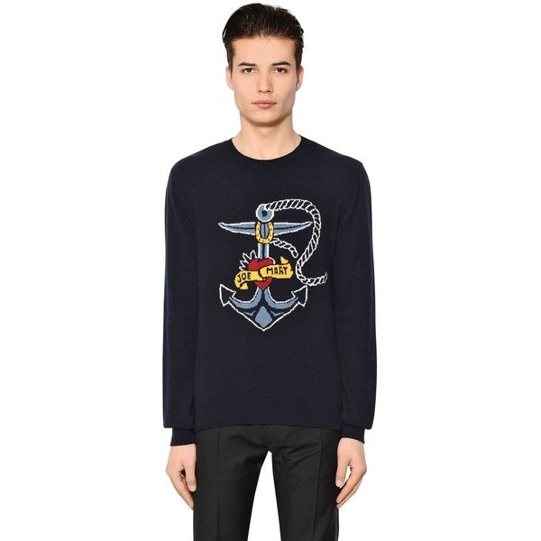 Valentino Men Tattoo Jacquard Wool Cashmere Sweater (8.748.575 IDR) ❤ liked on Polyvore featuring men's fashion, men's clothing, men's sweaters, navy, mens wool sweaters, old navy mens sweaters, mens cashmere sweaters, mens woolen sweaters and mens sweaters