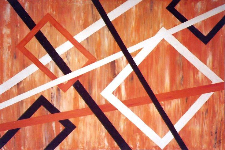 Quadro abstrato em acrilico, colagens de madeira balsa pintadas.