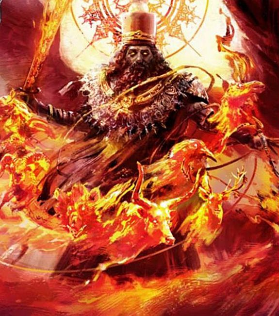"""Atar or Azar Goshasb the Persian God of Fire who owns a heavy powerful horse. Atar is Son of Ahura Mazda. He battles Azhi-Dahak, the great dragon of the sky. Atar is conceived of as a spirit of fire. In Avestan texts, his name means """"Fire"""". He symbolically represents the life-animating force, which is radiating from the spirit of Ahura Mazda."""