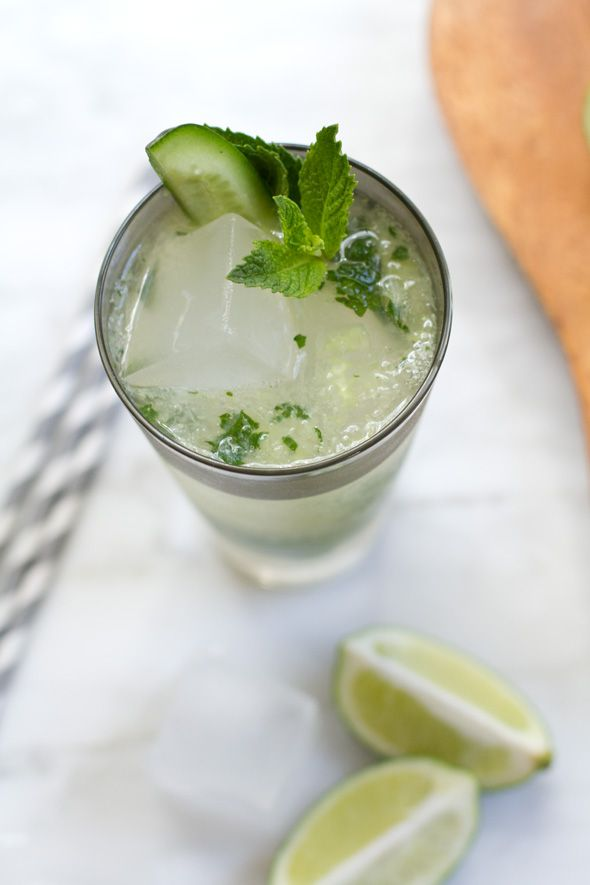 Cucumber Ginger Mojito Cocktail Recipe - Cuban, Summer cocktails