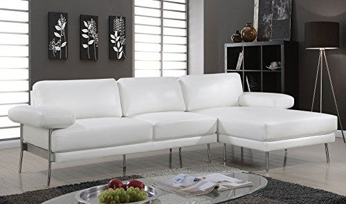 Esofastore Classic Contemporary Sectional Sofa Set Chrome Legs Breathable  Leatherette White Sofa Chaise Pillow Arms Plush