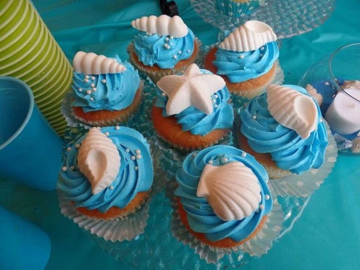 Seashell cupcakes at a mermaid birthday party! See more party ideas at CatchMyParty.com!