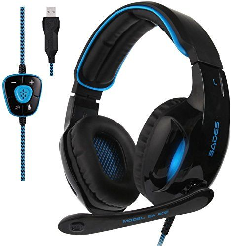 FarCry 5 Gamer  2017 #Sades New #Version #SA902 #Blue 7.1 #Channel #Virtual #USB #Surround #Stereo #Wired #PC #Gaming #Headset Over #Ear #Headphones with #Microphone #Revolution #Volume #Control #Noise #Canceling #LED #Light (Black/Blue)   Price:     FEATURE:Sades #SA902 #Surround Sound #Gaming #Headset Take your #gaming experience to the next level.  Immersive 7.1 #Surround Sound Hear them before they see you with an immersive 360-degree soundfield, featured on the #Sades #S